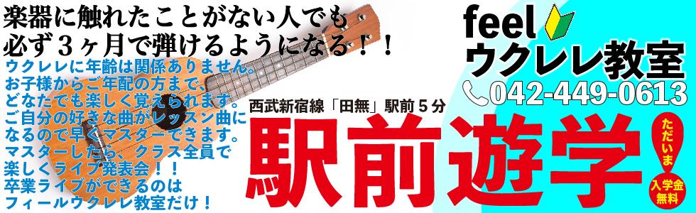 西東京市西武新宿線田無駅より徒歩5分。feelウクレレ教室